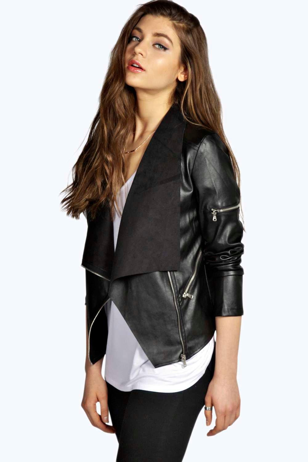 Boutique Daisy Waterfall Leather Look Jacket at boohoo.com