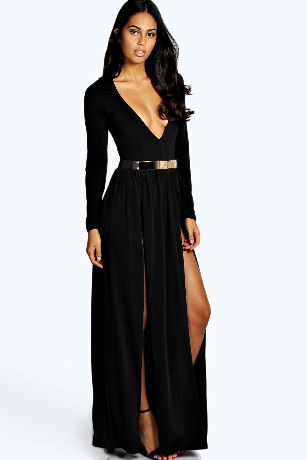 Black dress gold belt - Maxi Dress With Belt Re Re
