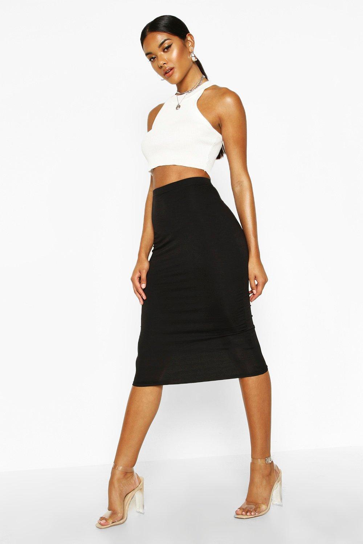 Brea Basic Jersey Midi Skirt at boohoo.com
