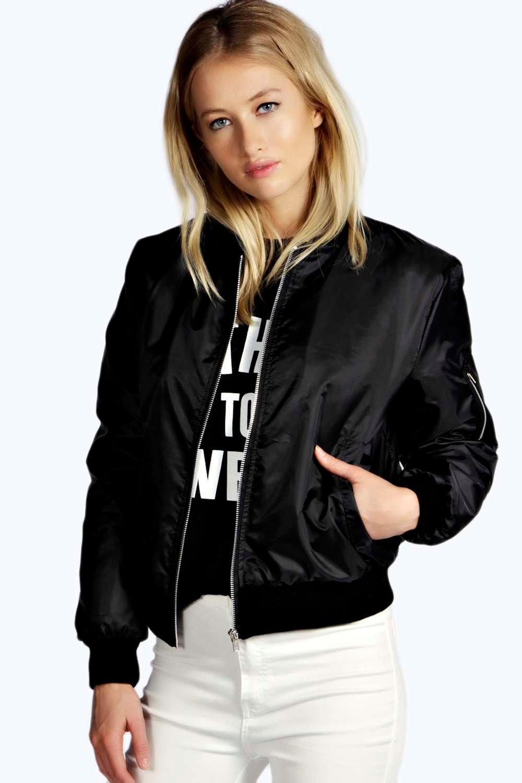 Leather jacket boohoo - Boohoo White Bomber Jacket
