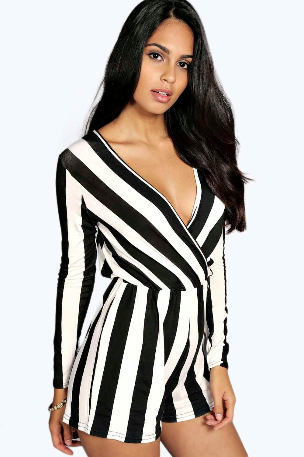 Lauren Wide Stripe Wrap Over Playsuit