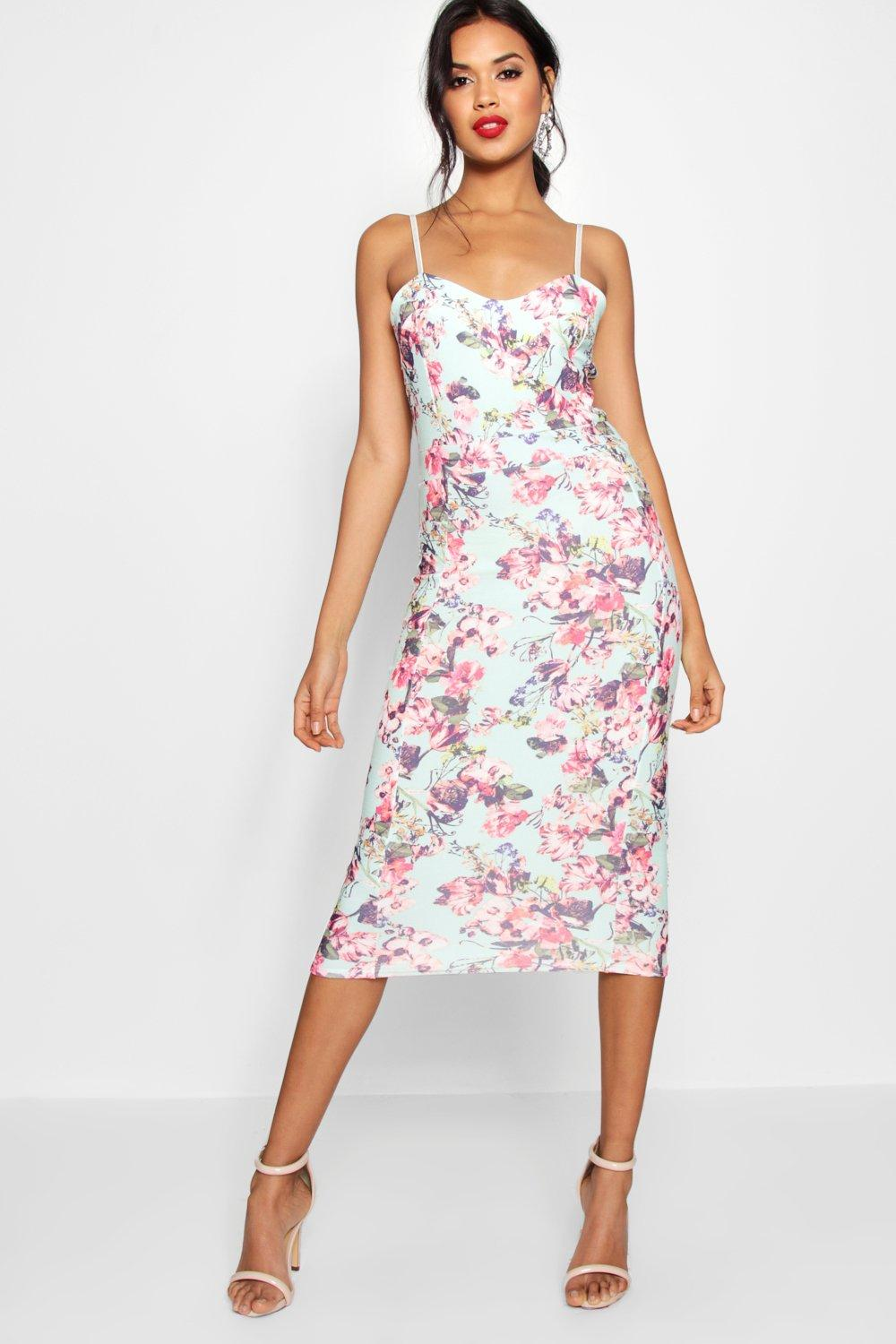 Faye Floral Print Strappy Midi Bodycon Dress at boohoo.com