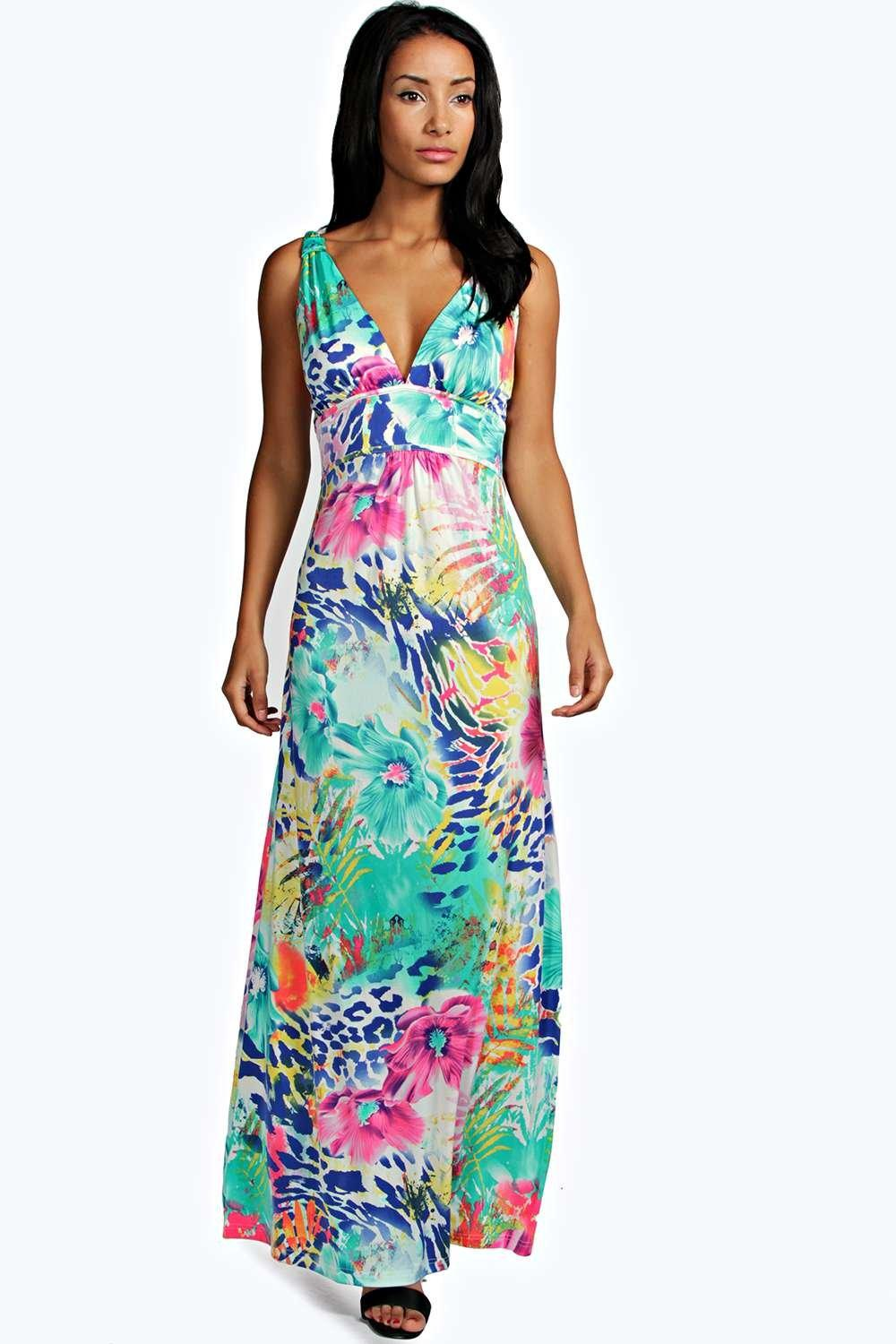Poppi Tropical Slinky Maxi Dress