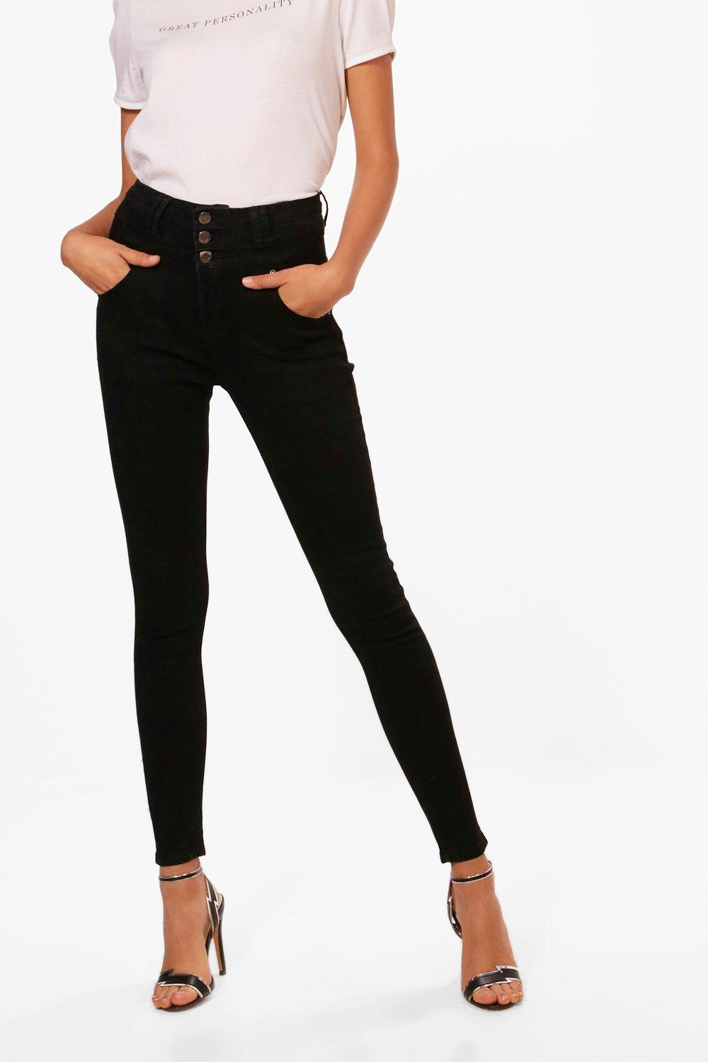 Sandy Super High Waisted Skinny Jeans at boohoo.com