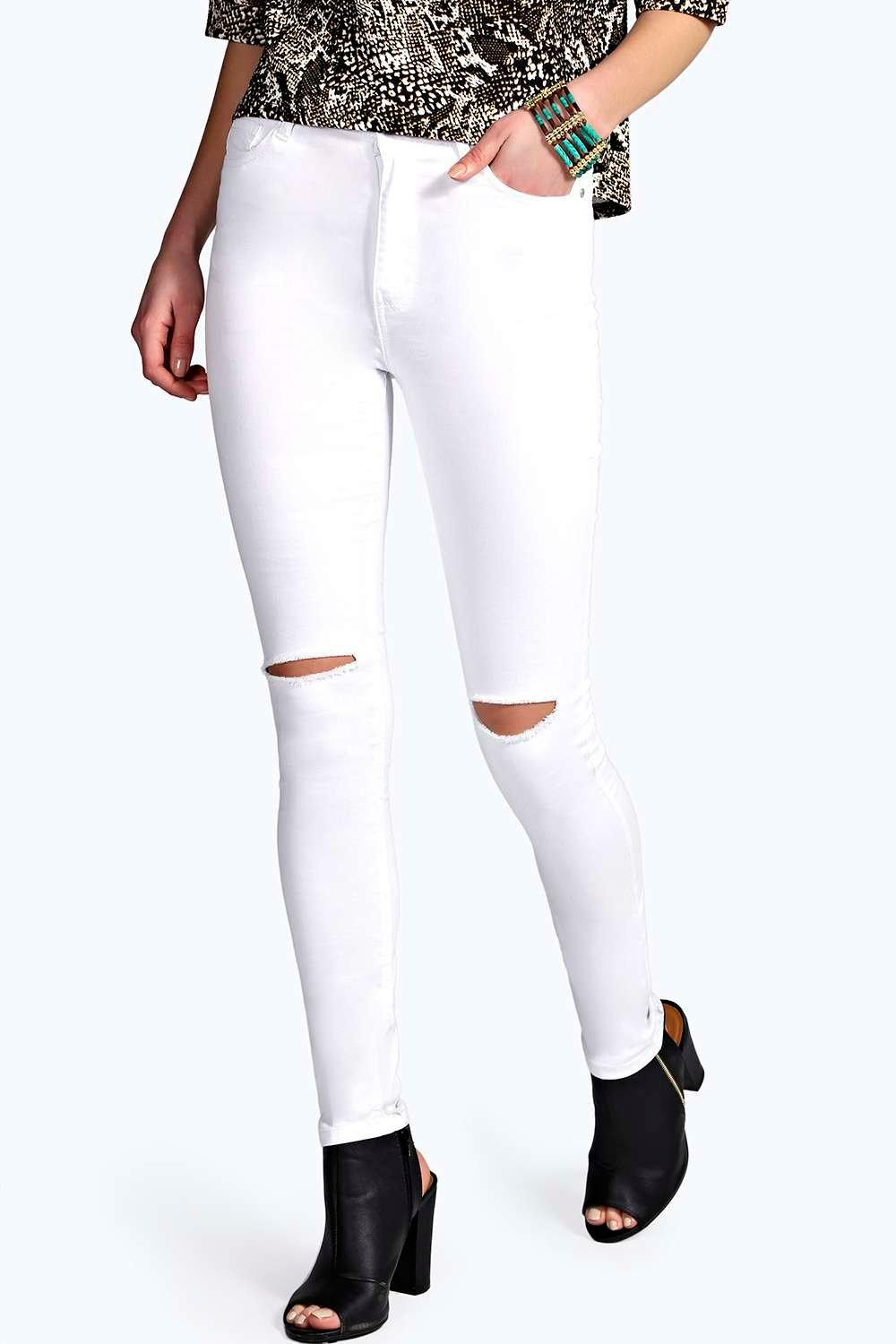 Lara High Rise Ripped Knee Super Skinny Jeans at boohoo.com