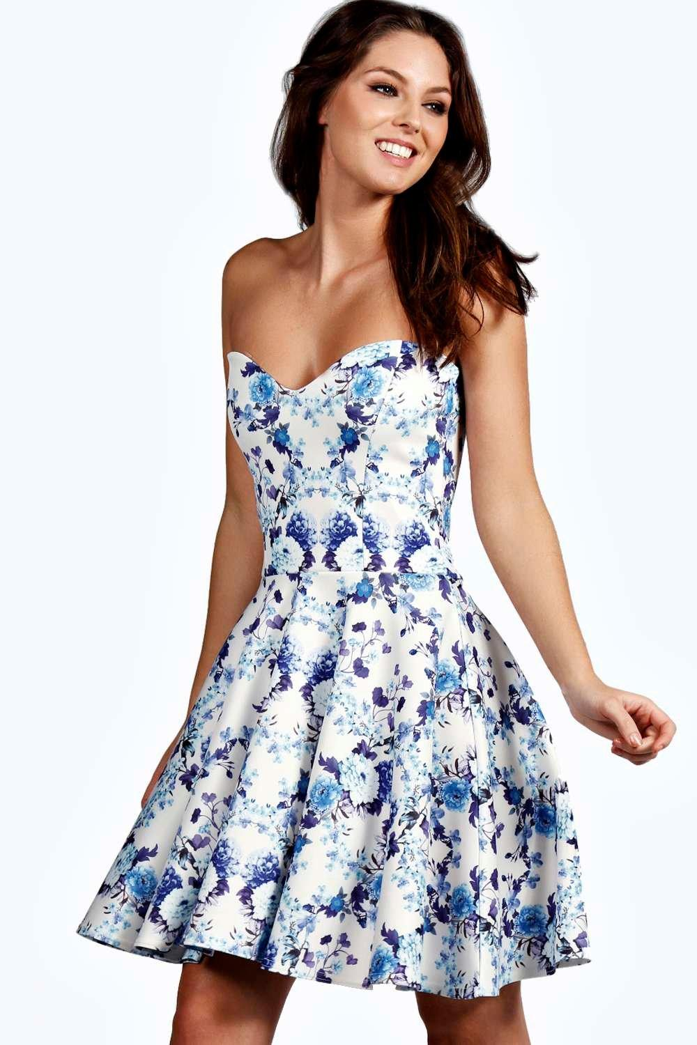 Hallie bandeau skater dress at for Boohoo dresses for weddings