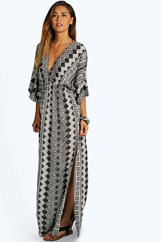 Maria Monochrome Aztec Kimono Maxi Dress at boohoo.com
