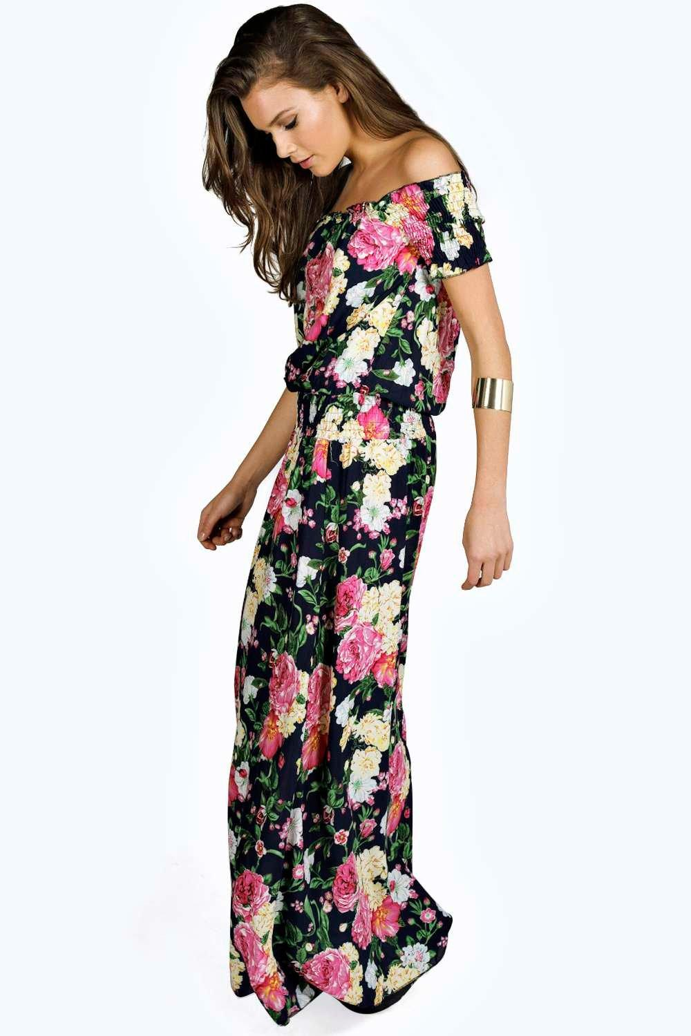 Mia Floral Woven Off The Shoulder Maxi Dress