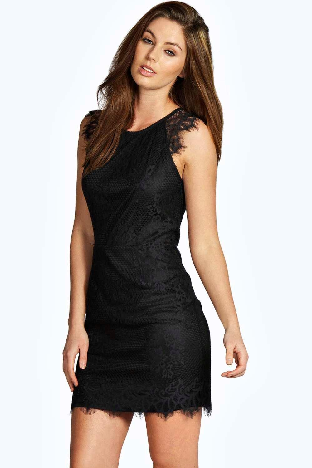 Jen All Over Eyelash Lace Bodycon Dress at boohoo.com