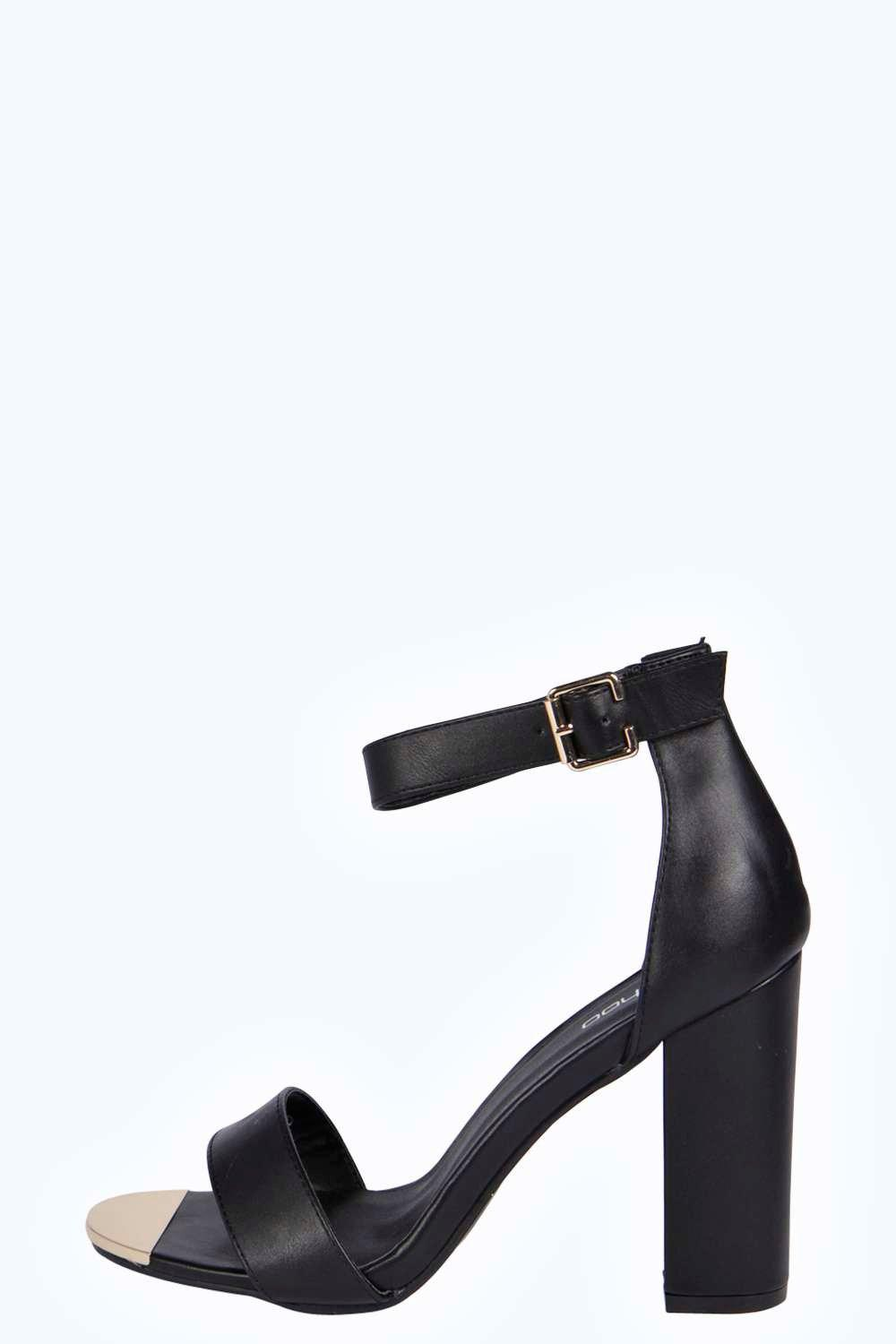 Rosa Metallic Trim Block Heels at boohoo.com