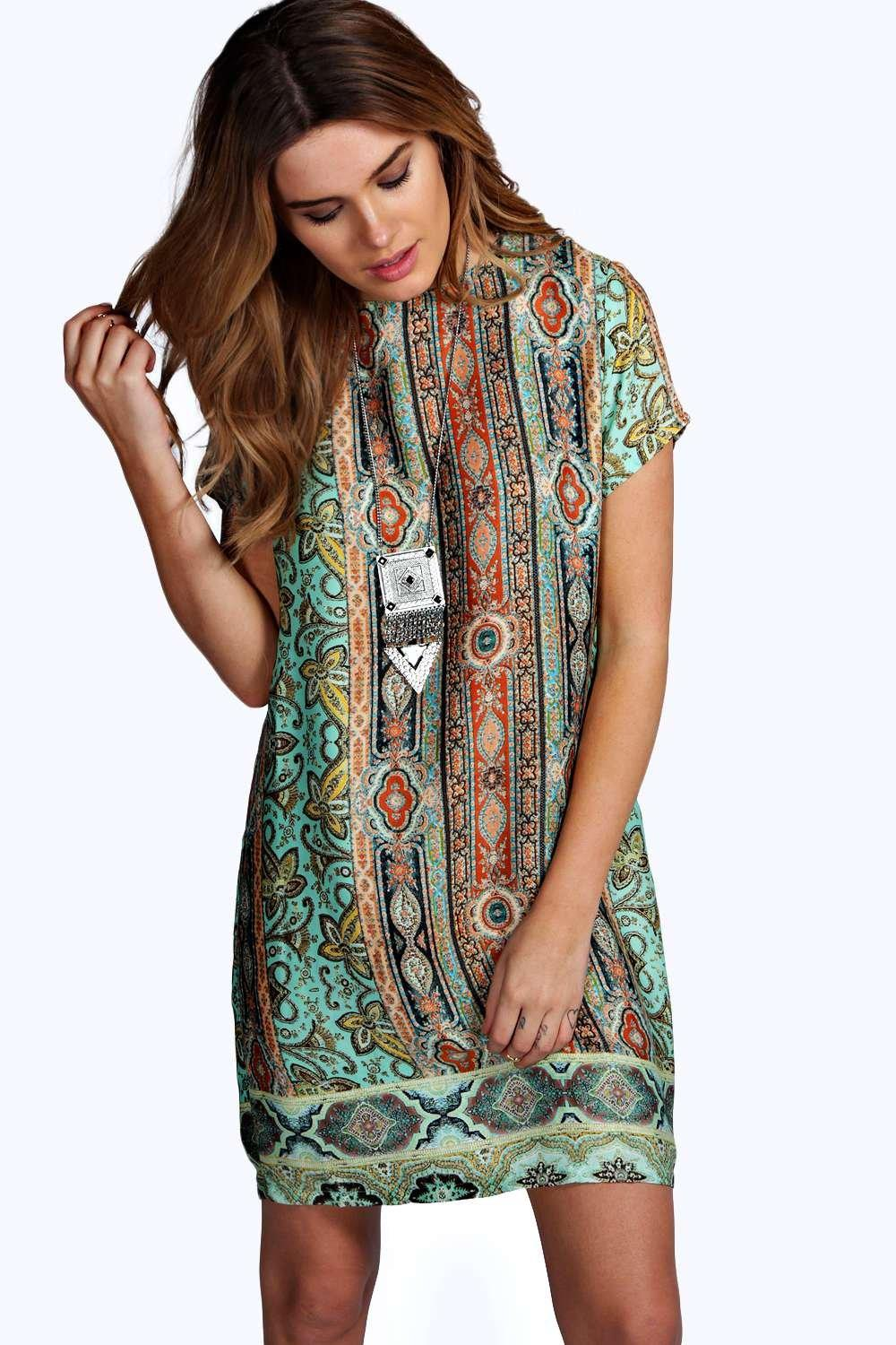 Iris Panelled Paisley Print Cap Sleeve Shift Dress at boohoo.com