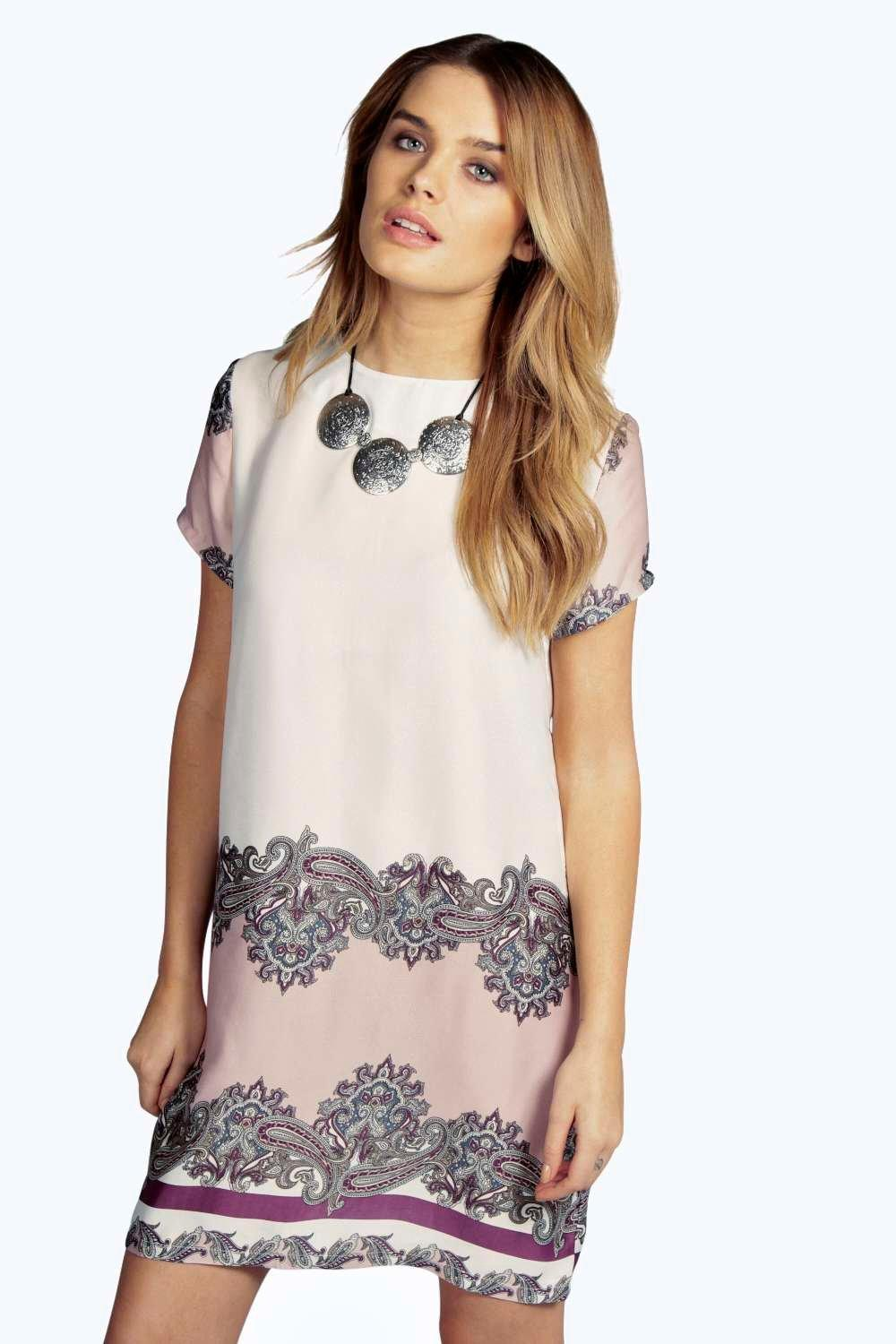 Jane Paisley Print Cap Sleeve Shift Dress