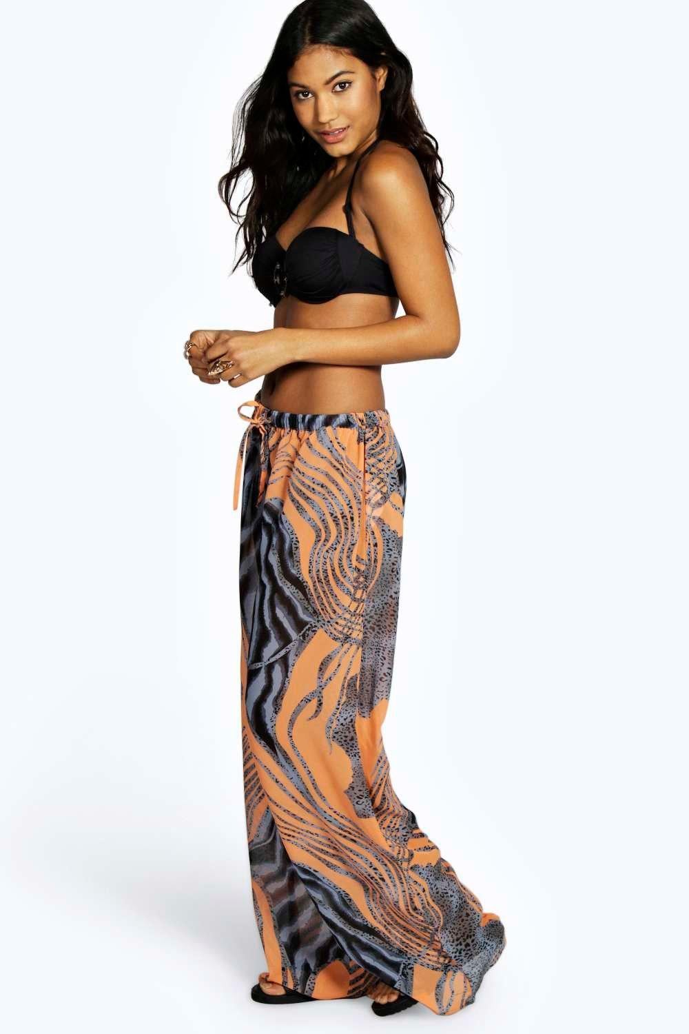 Louisa Tribal Printed Chiffon Beach Trousers