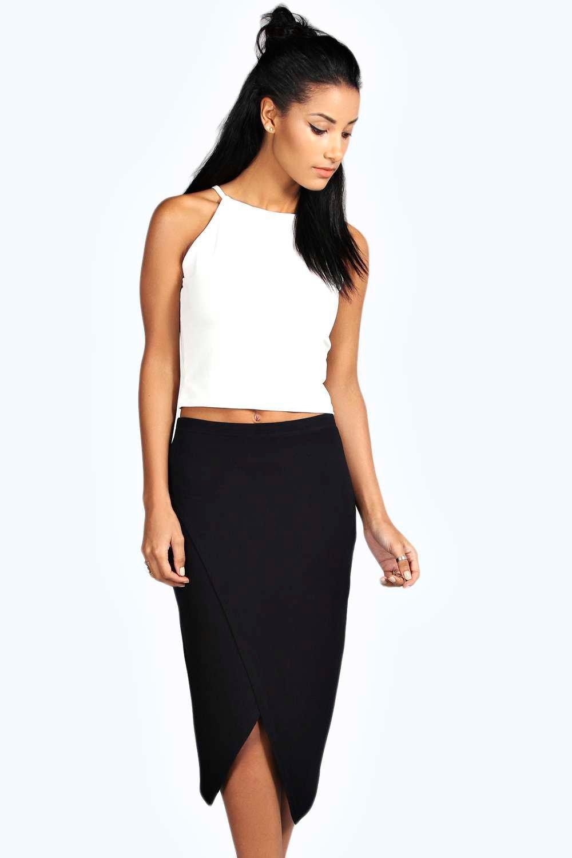 Amy Asymmetric Hem Midi Skirt at boohoo.com