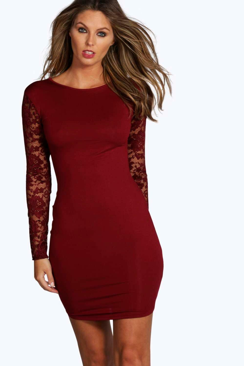 Susie Lace Sleeve Bodycon Dress at boohoo.com