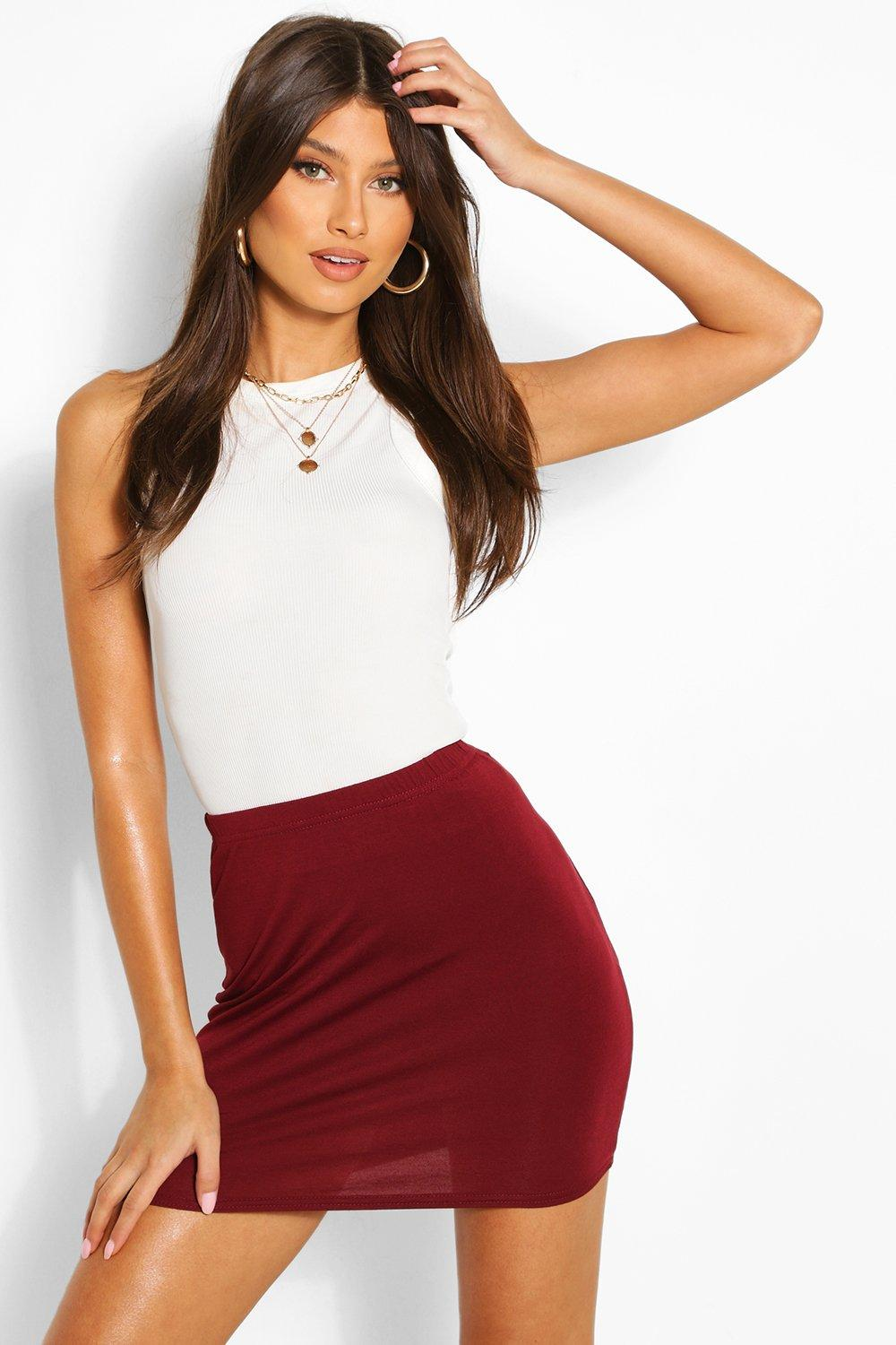 Maisy Basic Jersey Mini Skirt at boohoo.com