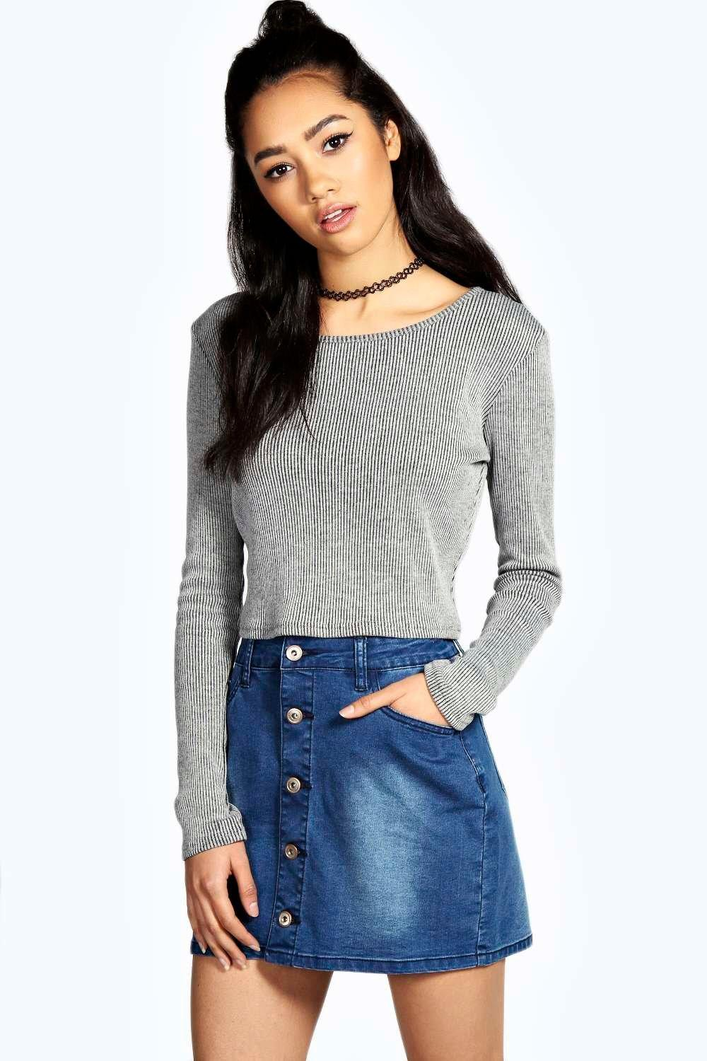 Elsie Denim Button Through Mini Mid Blue Skirt at boohoo.com