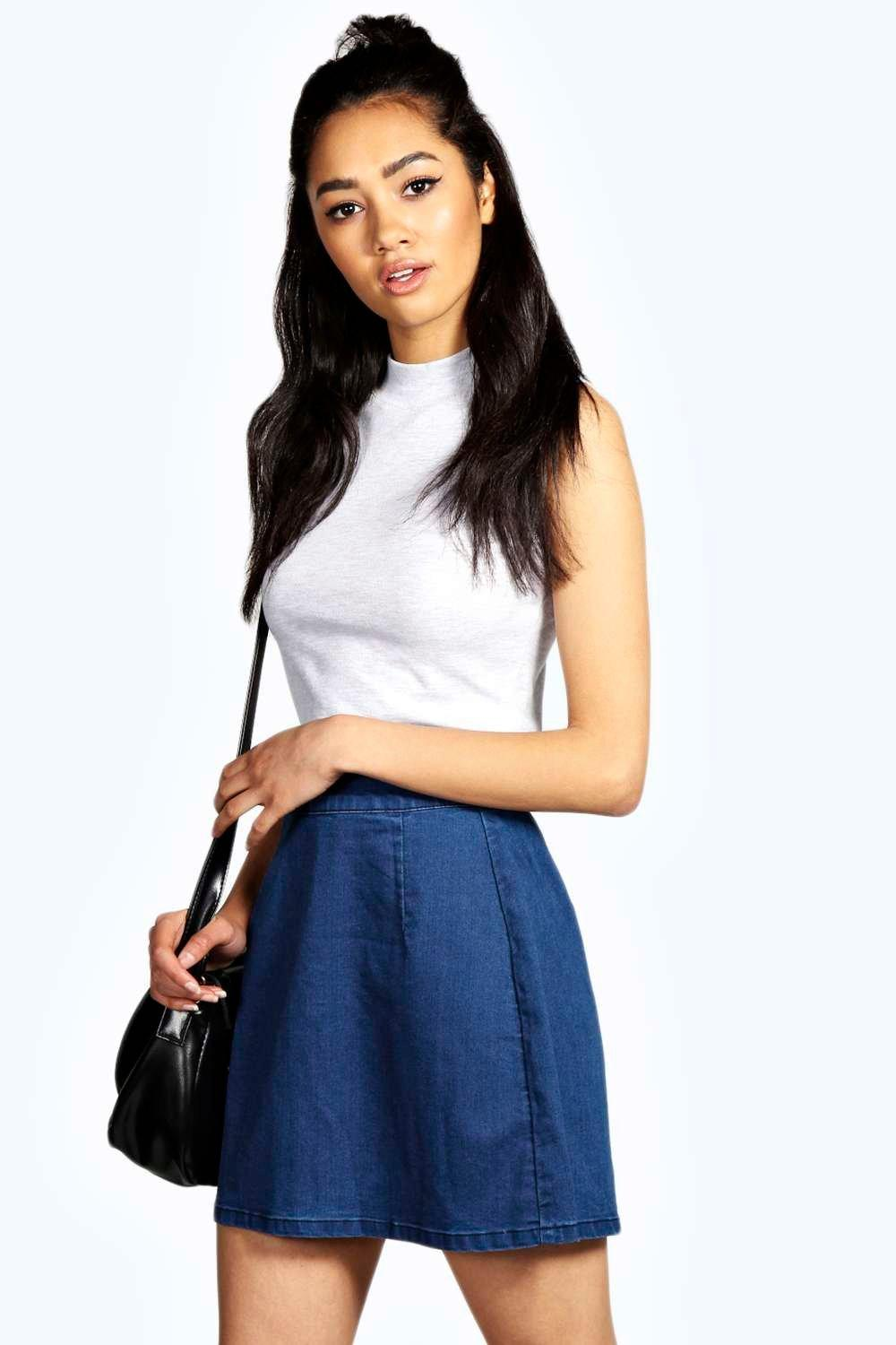 Emilia A-Line Mid Blue Denim Mini Skirt