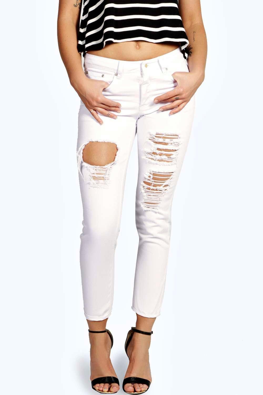Sara Ripped Boyfriend White Jeans at boohoo.com