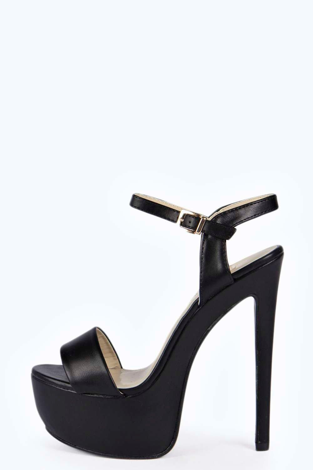Black Platform Heels With Ankle Strap