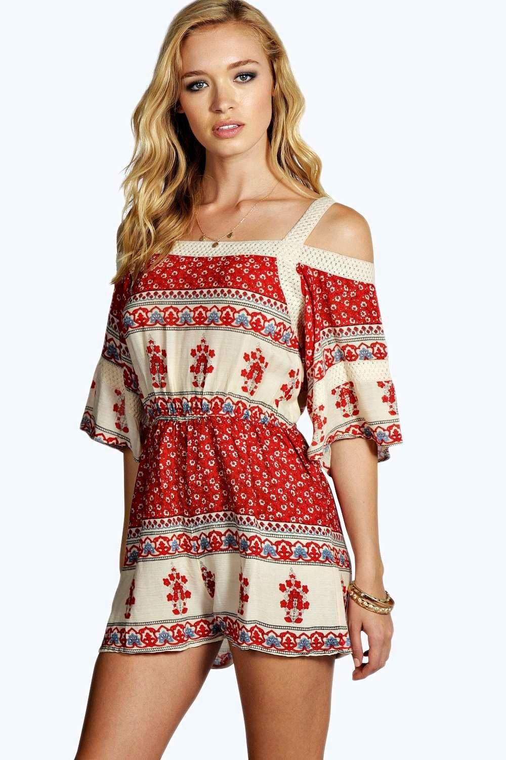 Bridget Open Shoulder Border Print Playsuit