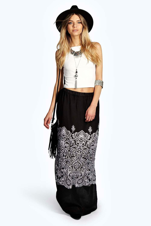 corina scarf print woven maxi skirt at boohoo