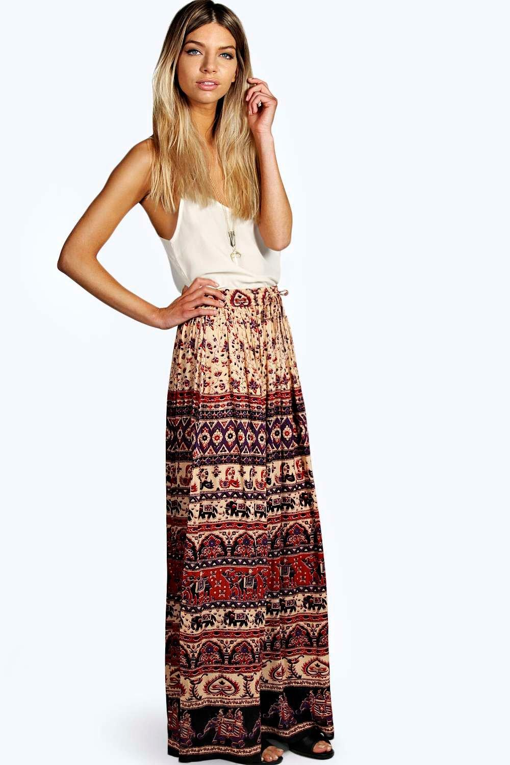 Corina Ethnic Print Maxi Skirt at boohoo.com