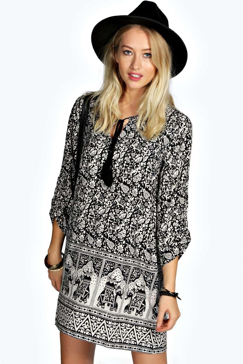 Abigail Elephant Print Shift Dress