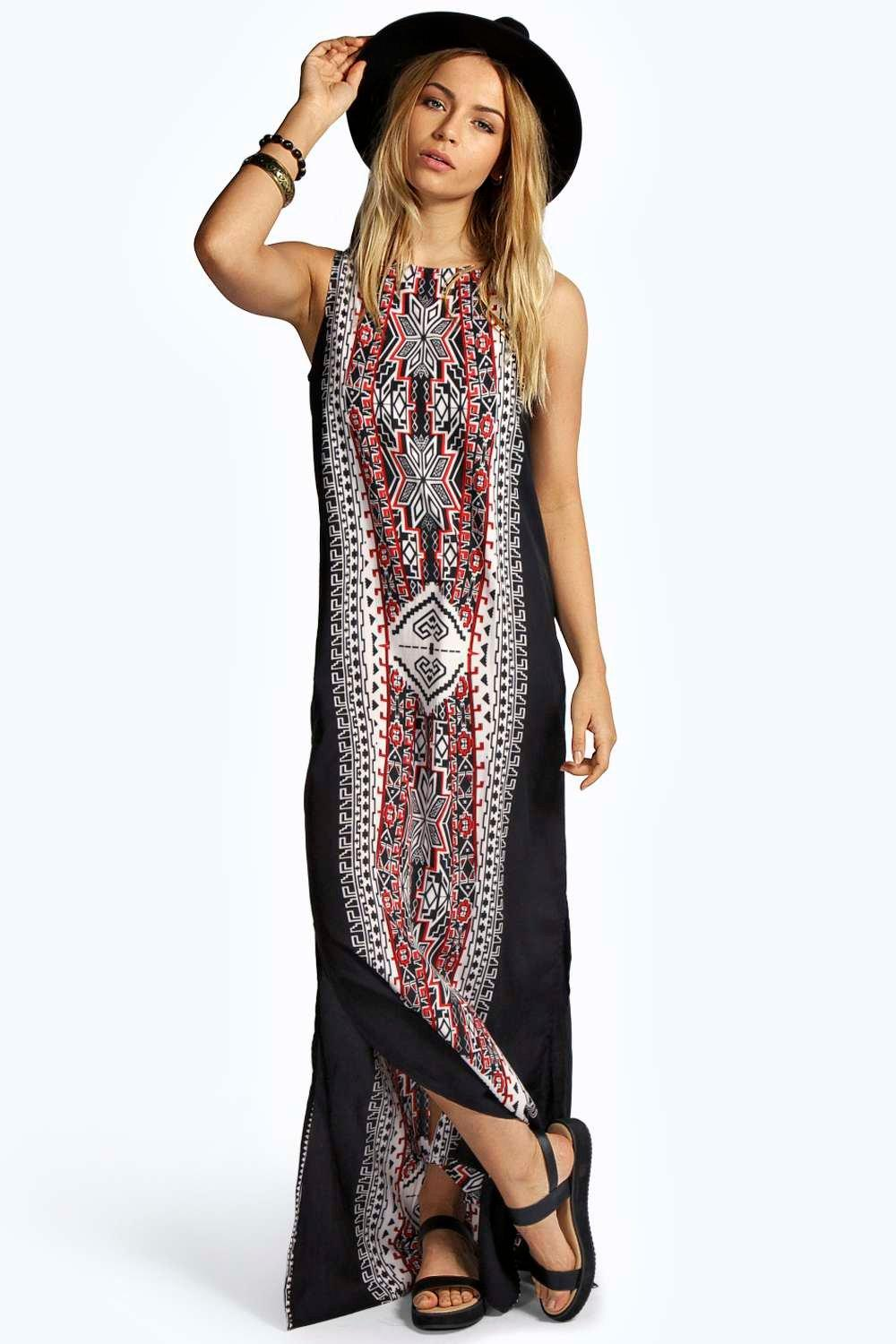 Lizzi printed column maxi dress at for Boohoo dresses for weddings