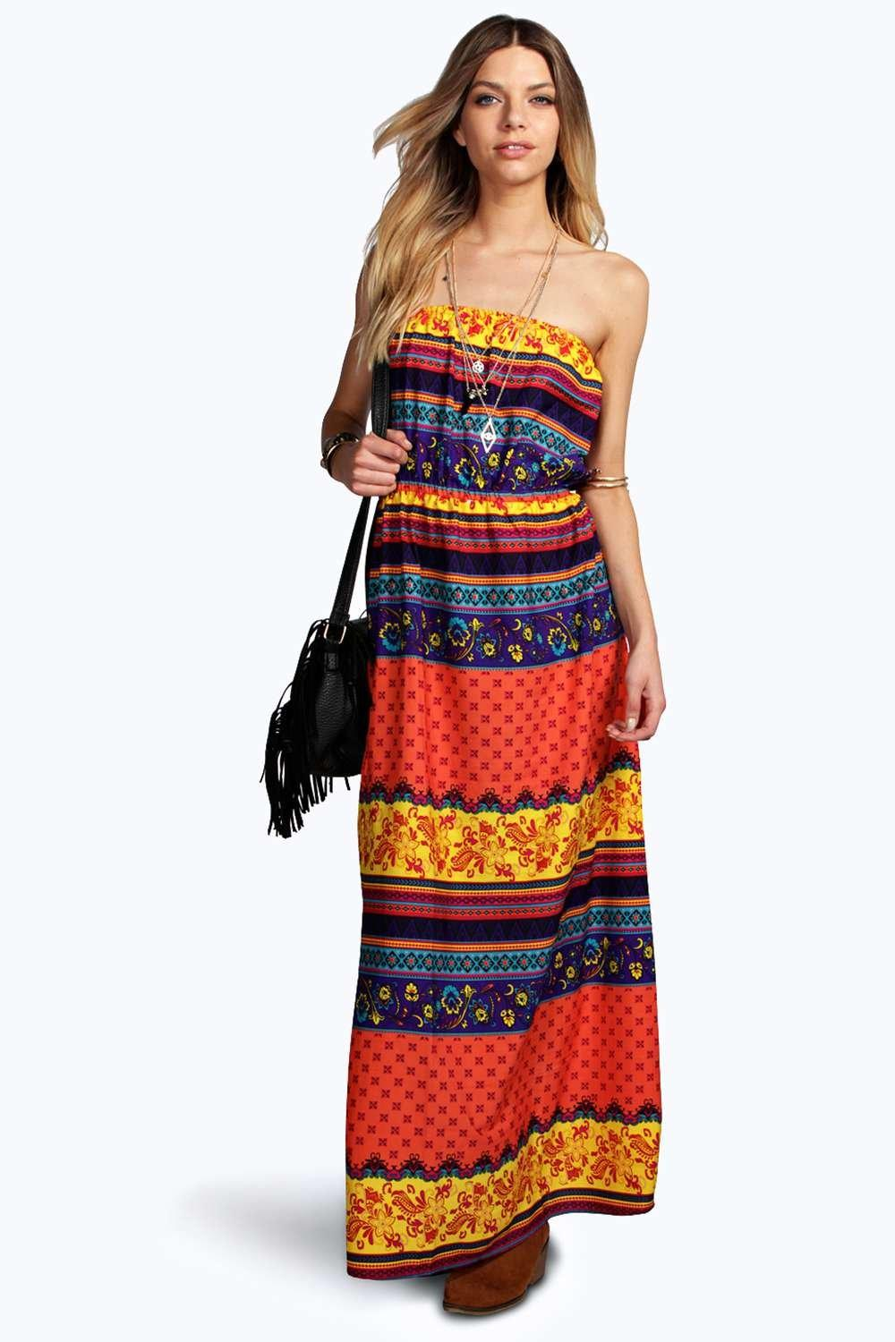 Emily Autumn Bandeau Woven Maxi Dress