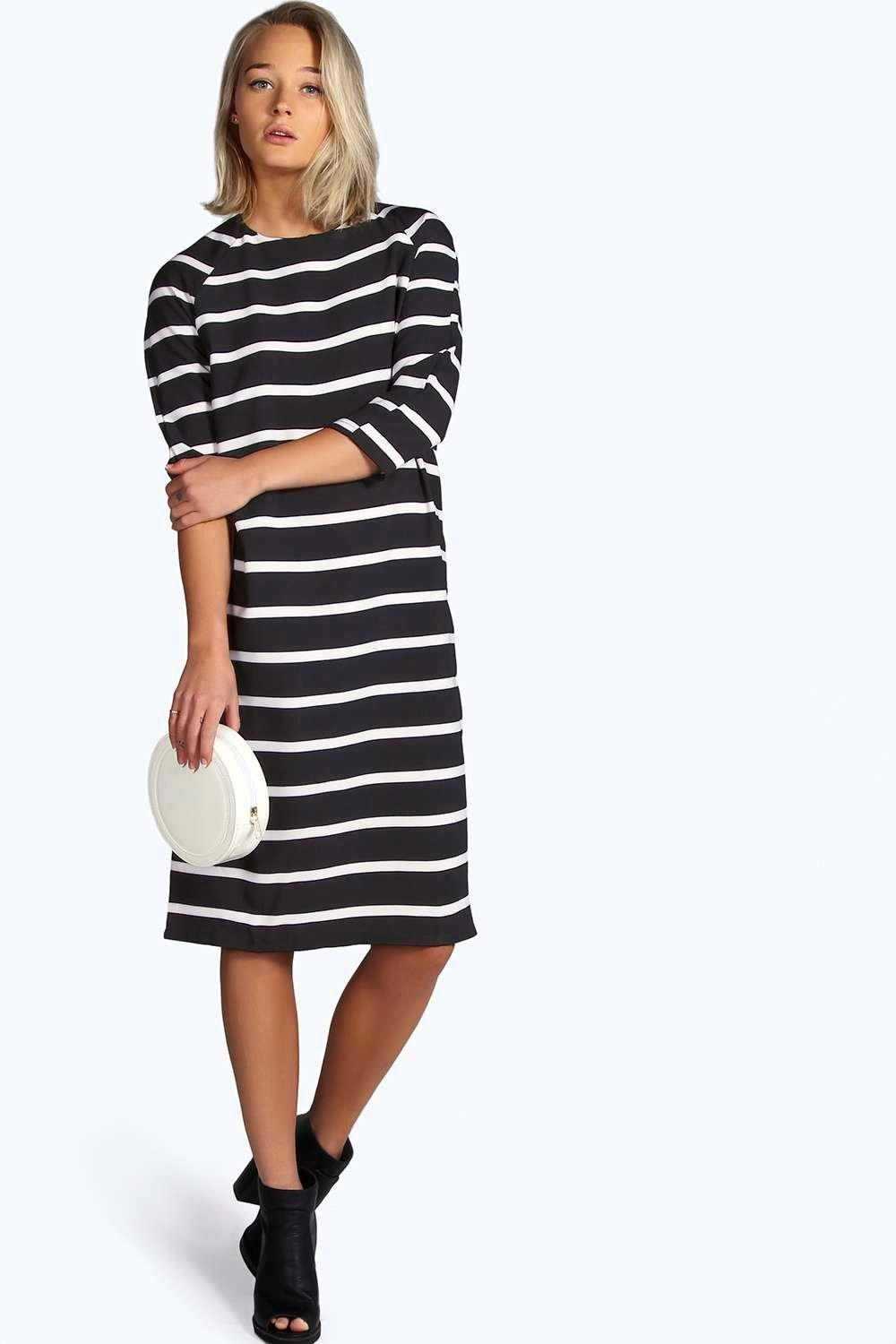 Zena Woven Stripe Printed Column Midi Dress
