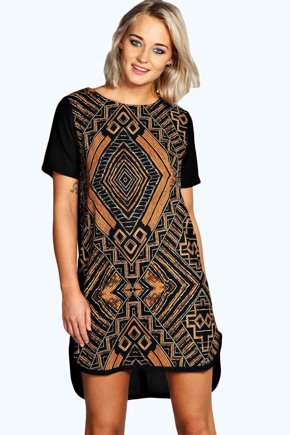 Caprice printed woven shift dress at for Boohoo dresses for weddings
