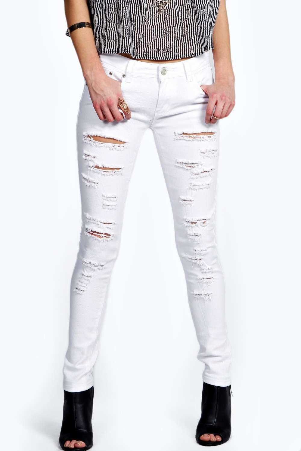 Evie Low Rise Extreme Shredded Skinny Jeans