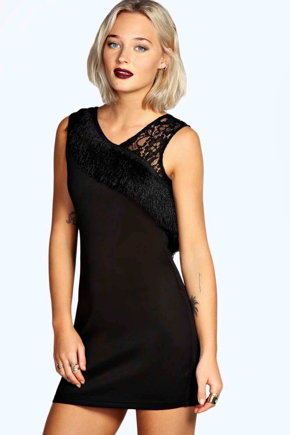 Laura Fringe and Lace Bodycon Dress