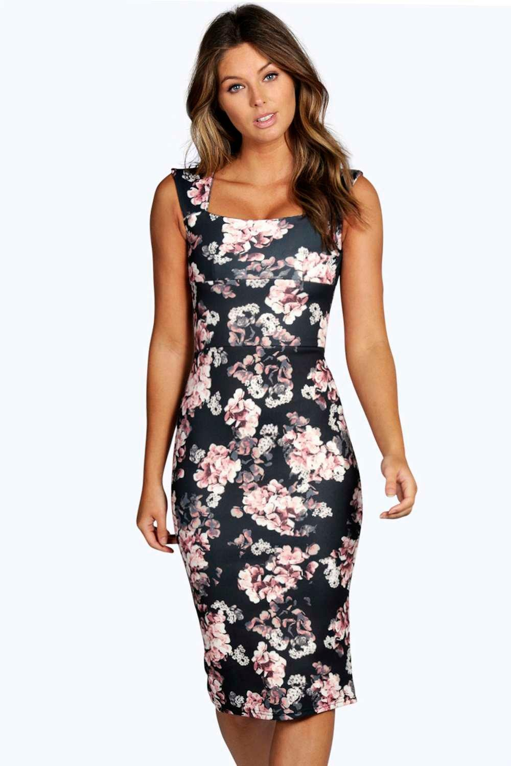 Elsa floral printed midi dress at for Boohoo dresses for weddings