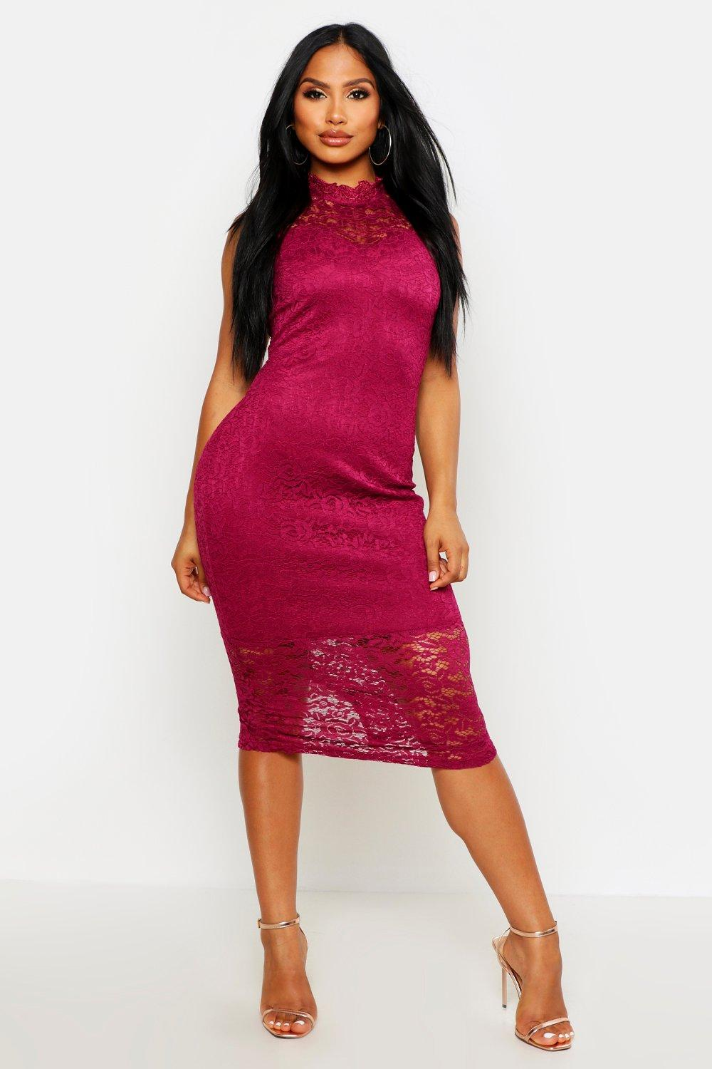 Boutique Clare Lace High Neck Bodycon Midi Dress at boohoo.com