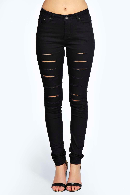 Jess Mid Rise Cut Leg Ripped Skinny Jeans at boohoo.com