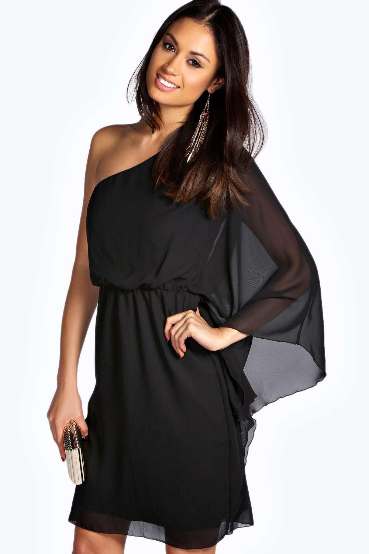 Платье на одно плечо с рукавами