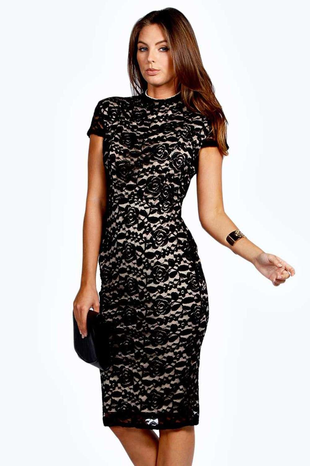 Rosie High Neck Lace Bodycon Midi Dress at boohoo.com