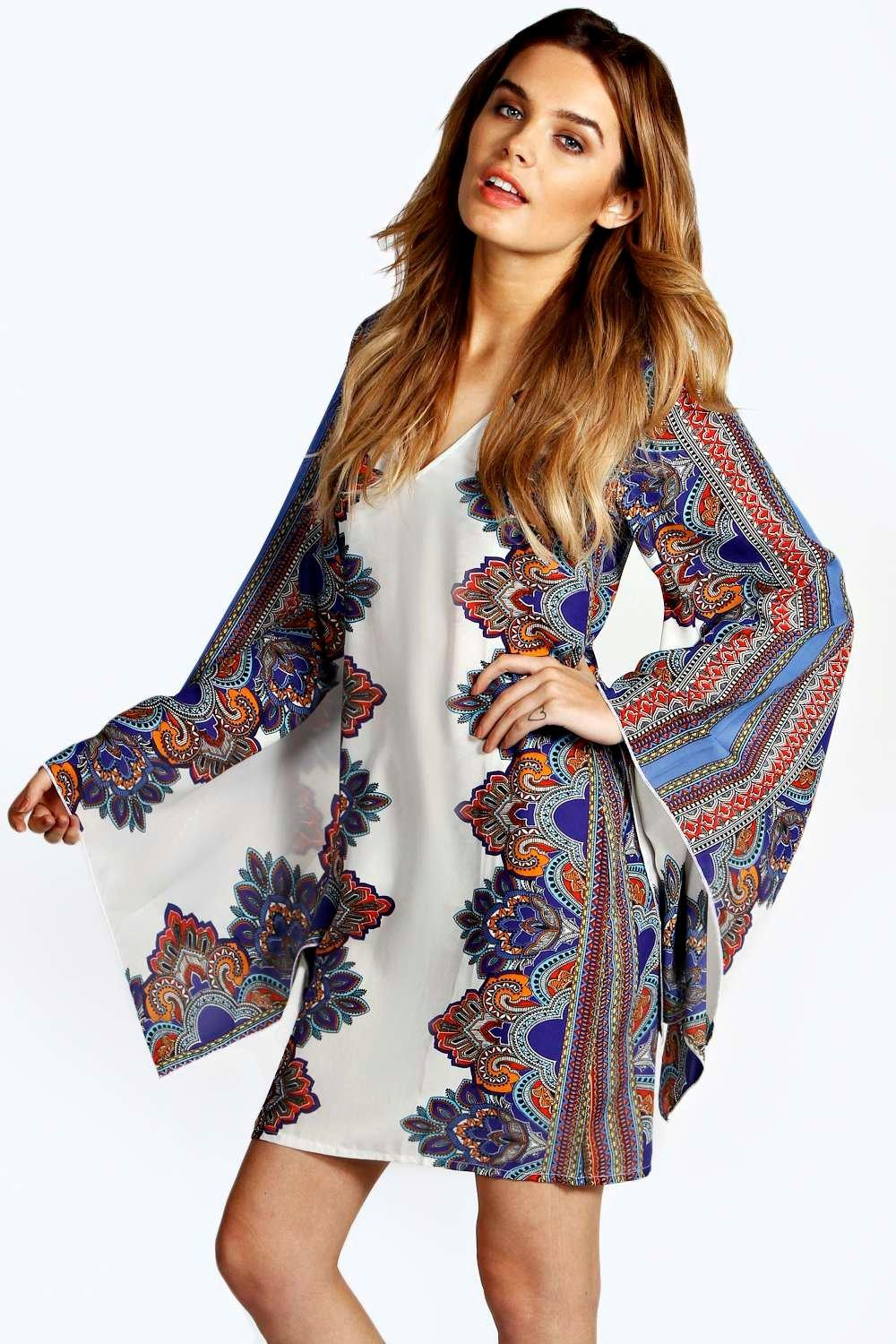Jen Paisley Cape Woven Shift Dress