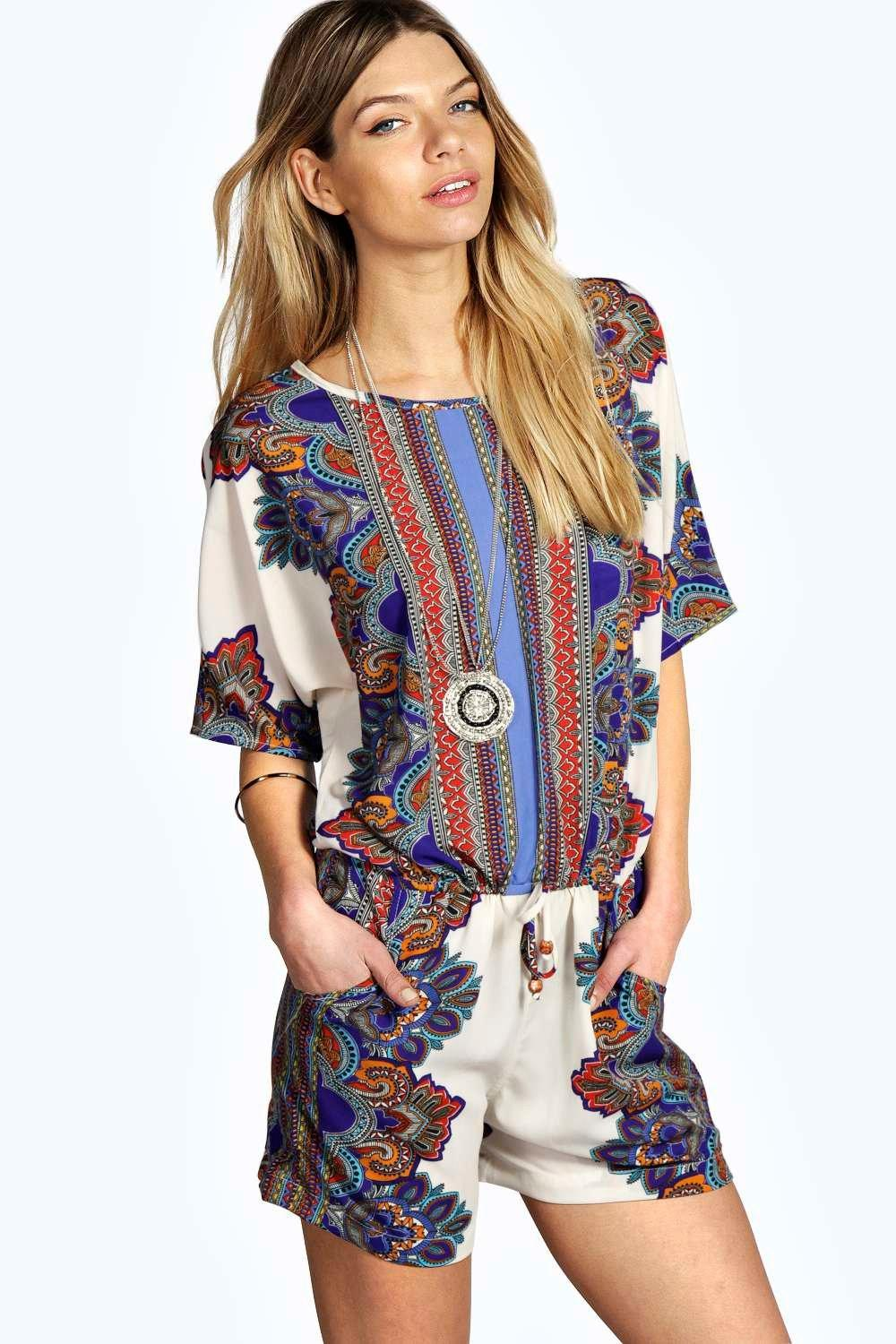 Sarah Paisley Border Print 3/4 Sleeve Playsuit