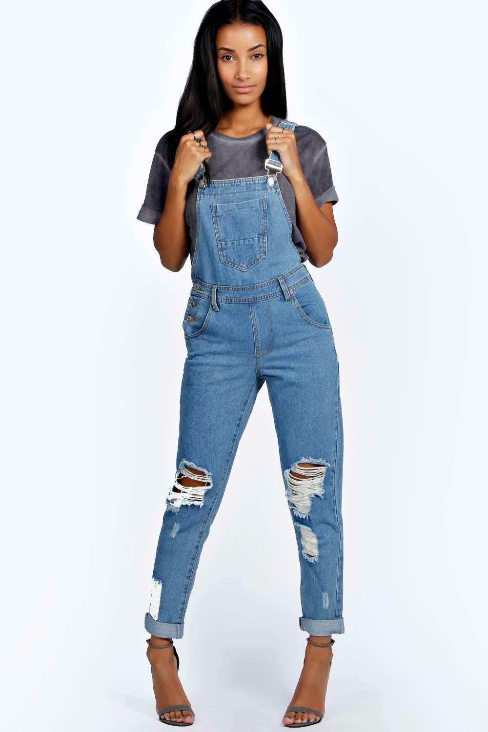 Amy Indigo Stone Wash Denim Dungaree at boohoo.com