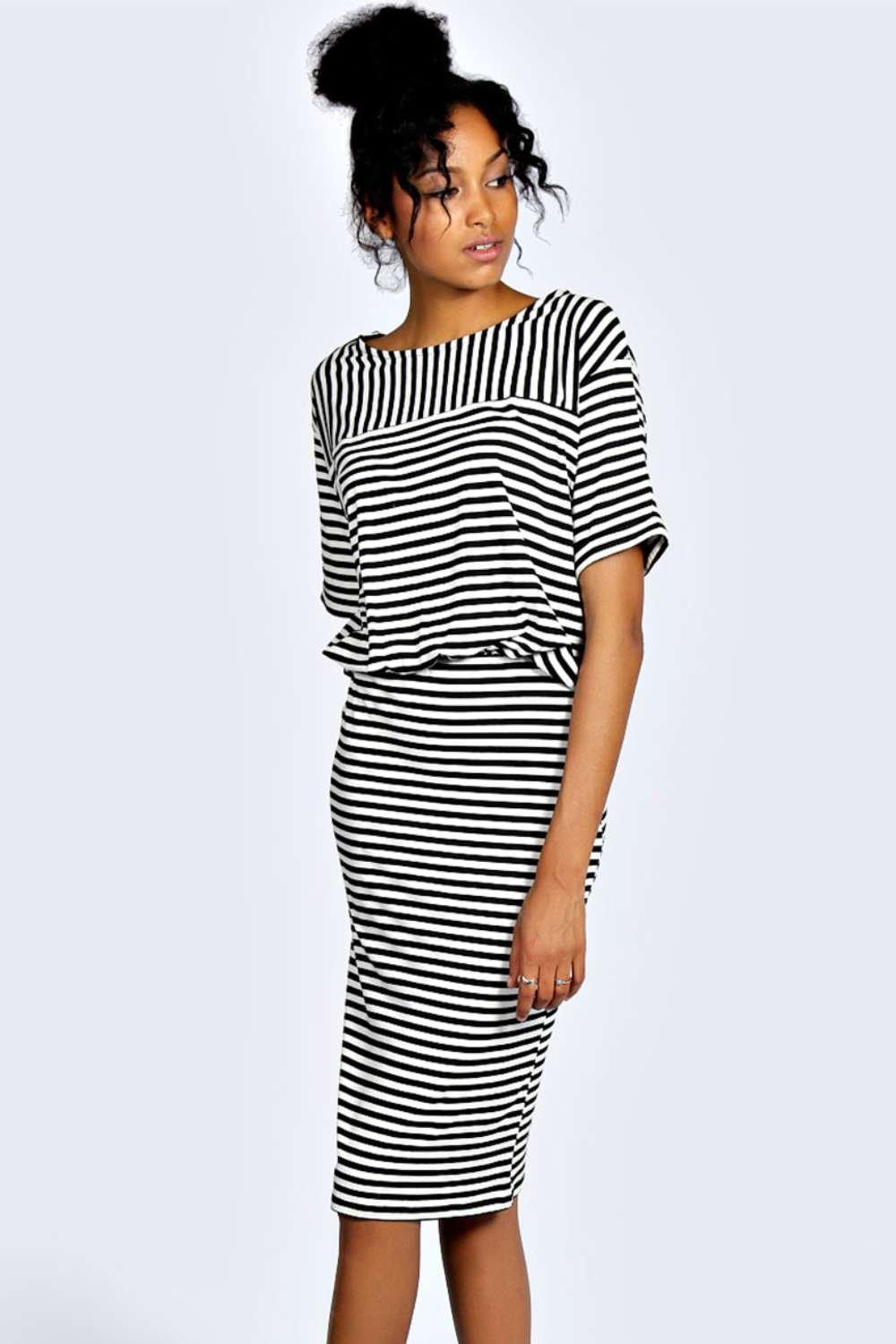 Hollie Stripe 2 in 1 Midi Dress