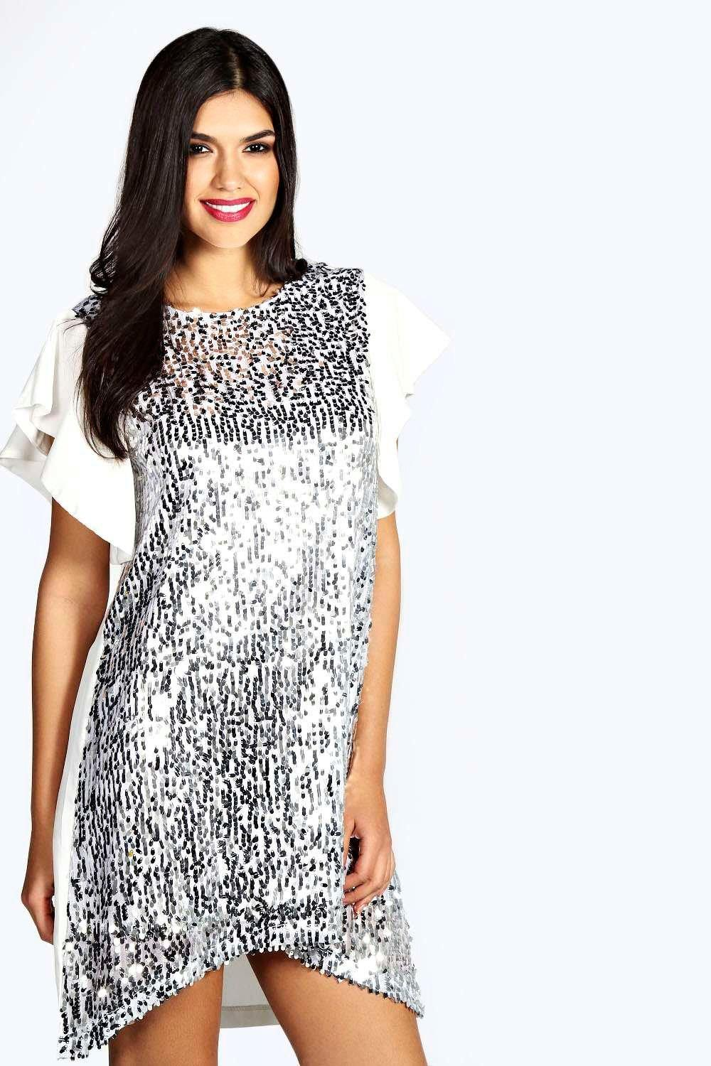 Droplet Sequin Frill Swing Dress white