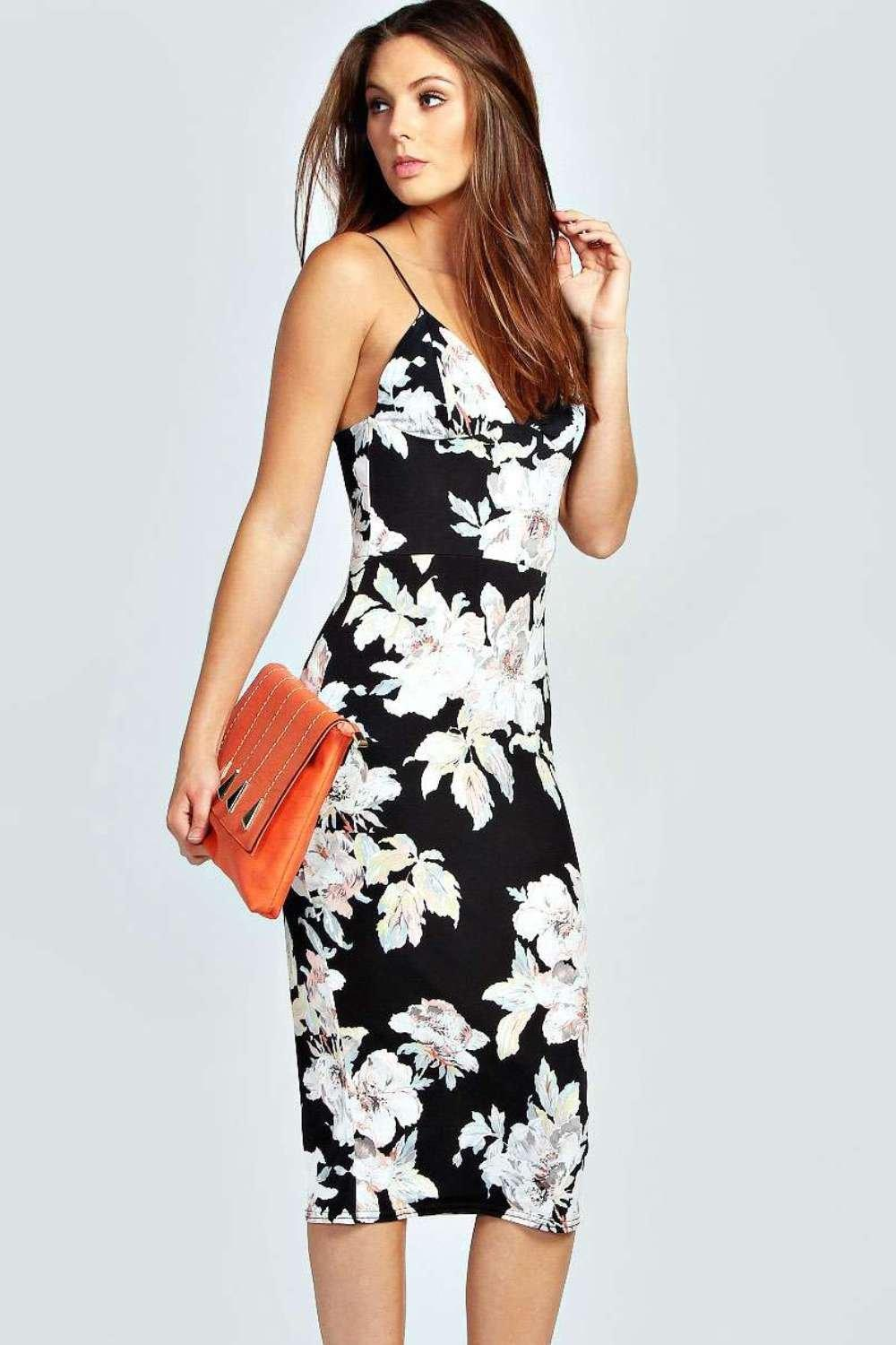 Beth Printed Bodycon Midi Dress