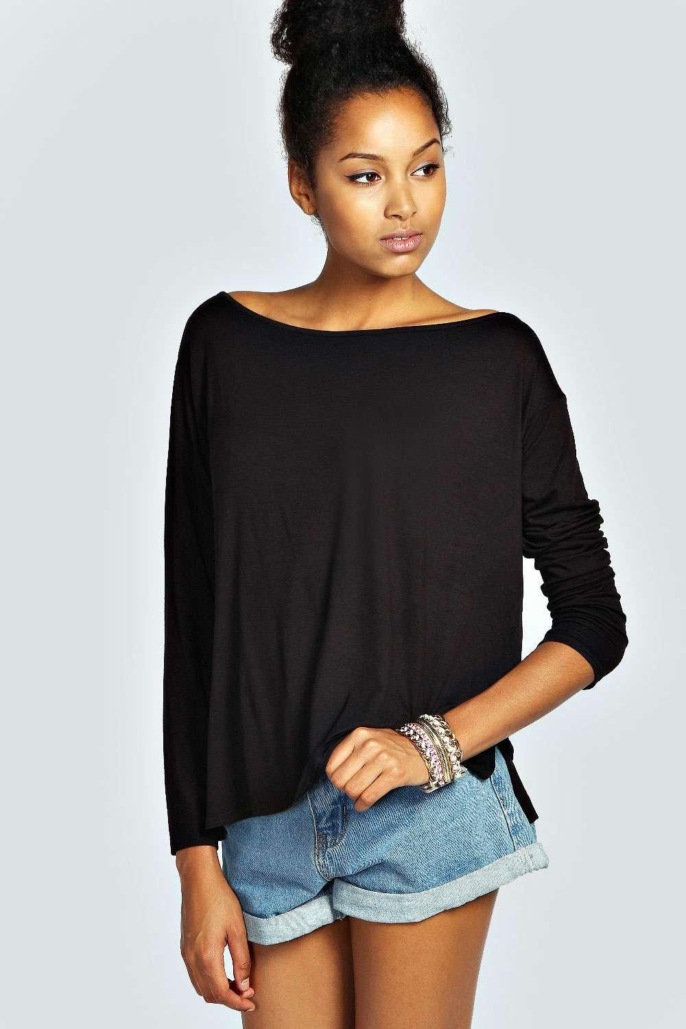 Dion Long Sleeved Oversized Slash Neck Tee