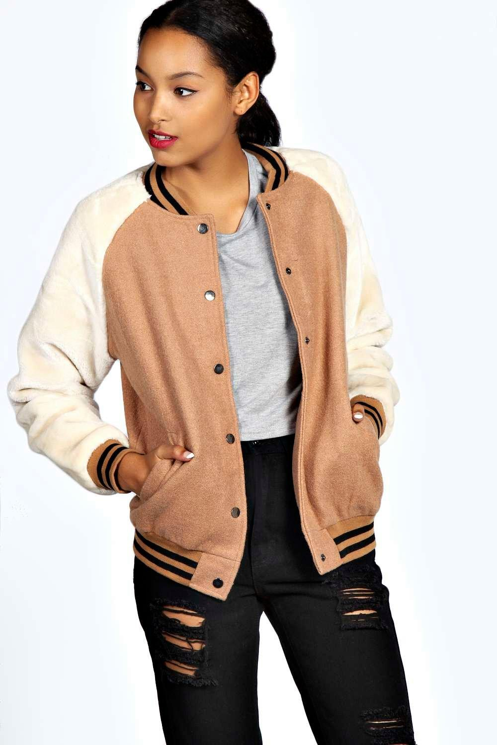 Fay Faux Fur Sleeve Bomber Jacket