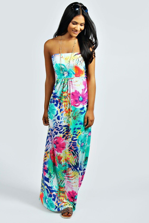 Gina Printed Bandeau Maxi Dress at boohoo.com
