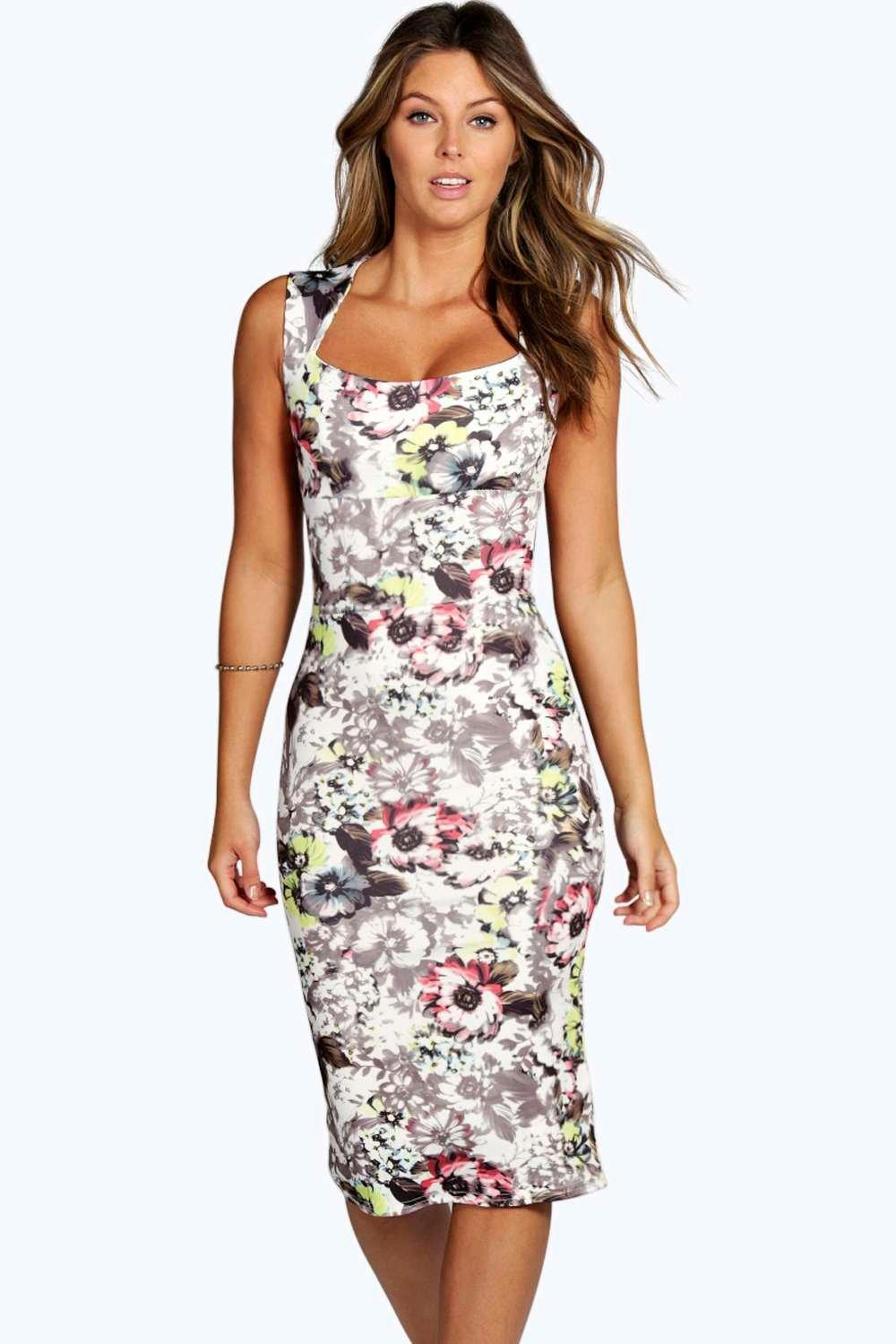 Neve floral midi dress at for Boohoo dresses for weddings