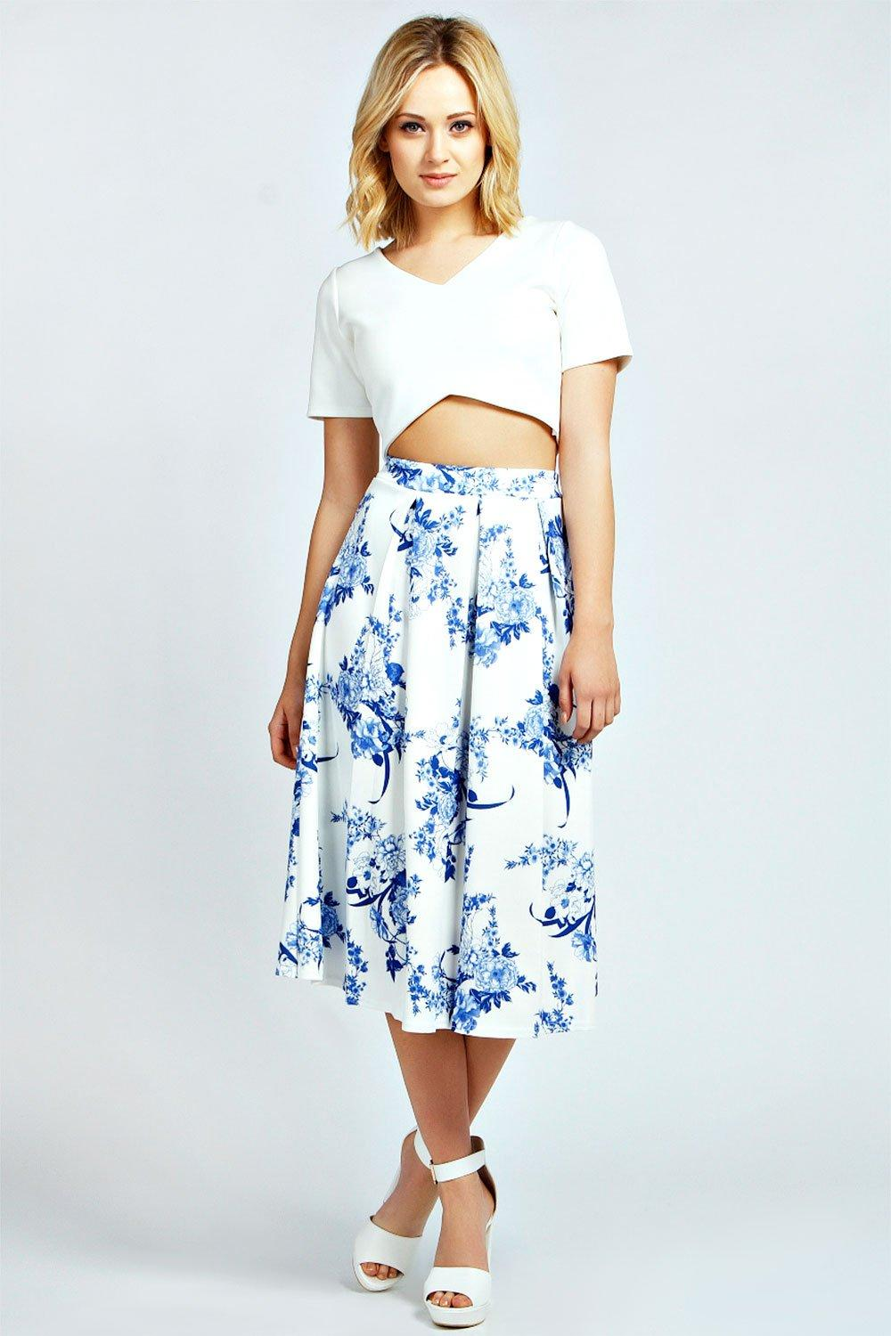 Kadie Porcelain Print Box Pleat Midi Skirt
